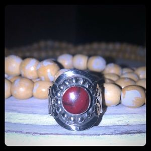 Sterling silver Coral ring- NEW